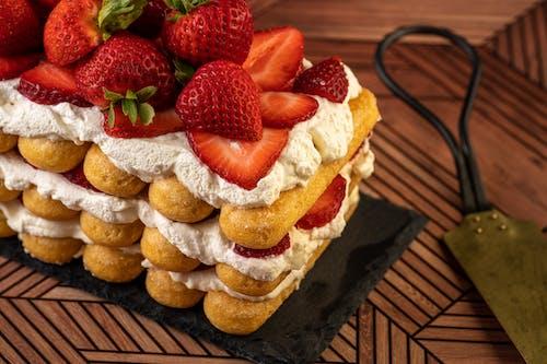 Strawberries and Cream Covered Cake