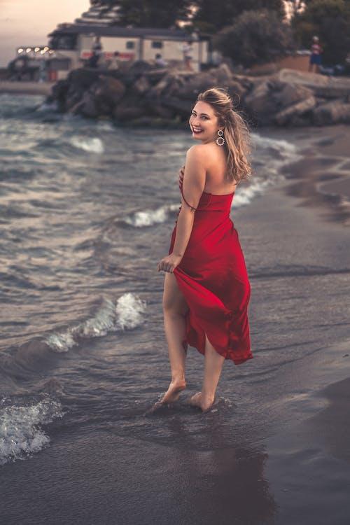 Free stock photo of beach, dress, fashion