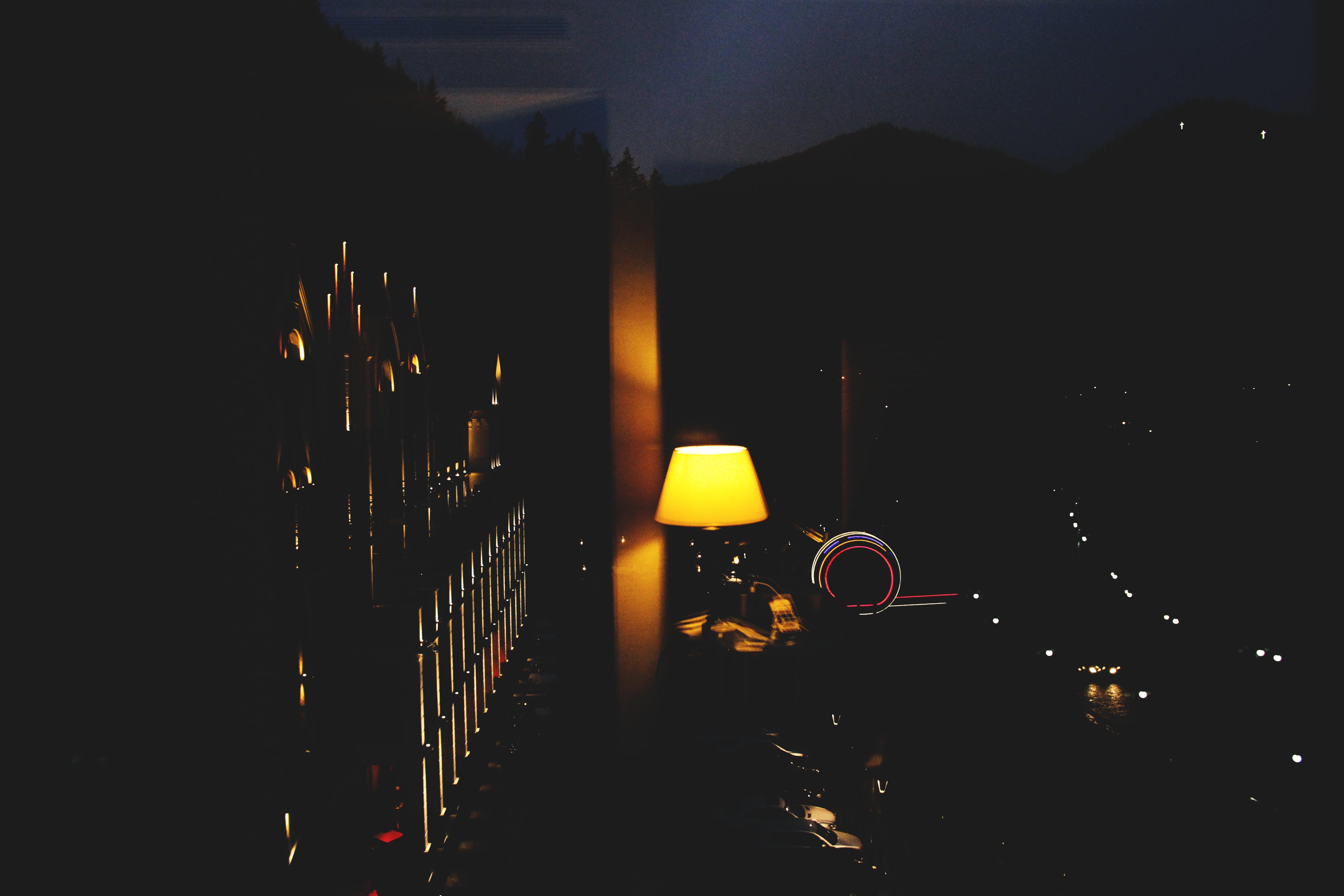 Turned on Lamp in Dark Room