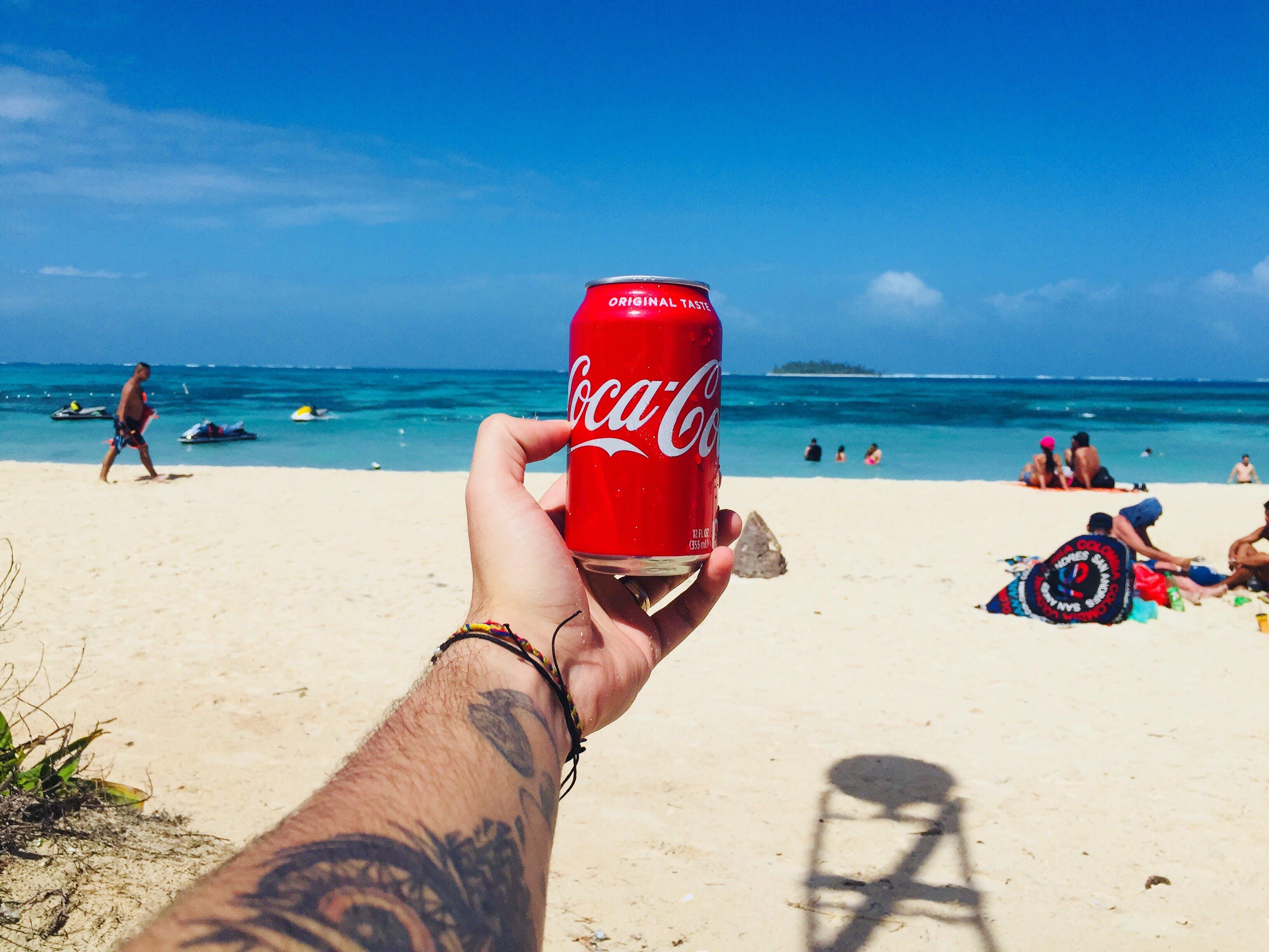 Person Holding Coca-cola Tin Can Near Shore