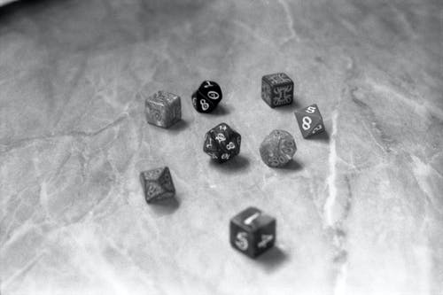 Black and White Dice on Counter