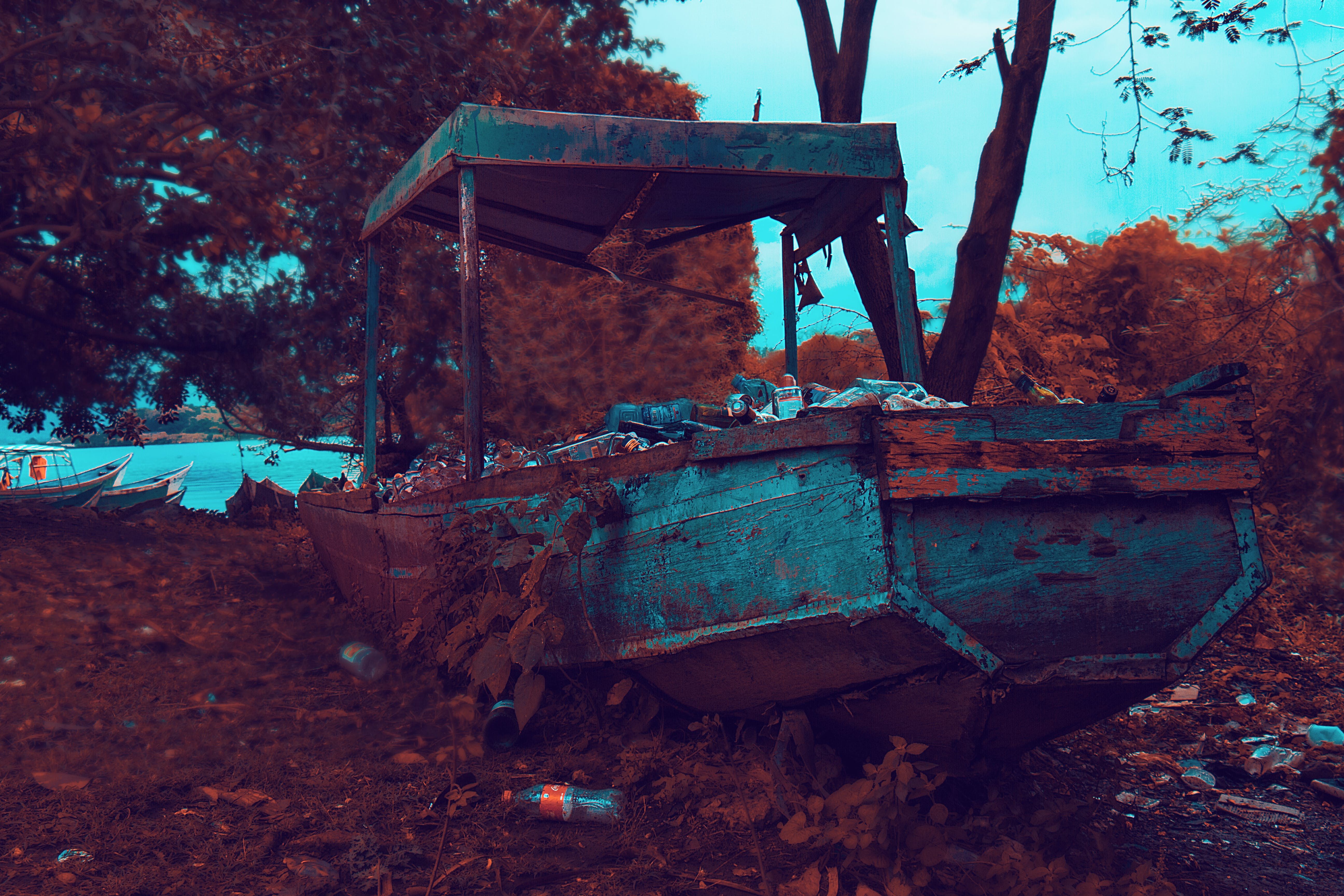 Rusty Brown and Gray Boat Near Trees and Body of Water