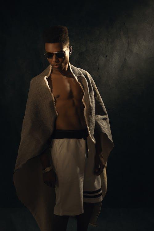 Man in Gray Coat and Black Sunglasses