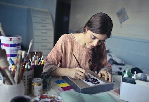 Woman in Brown Scoop-neck Long-sleeved Blouse Painting