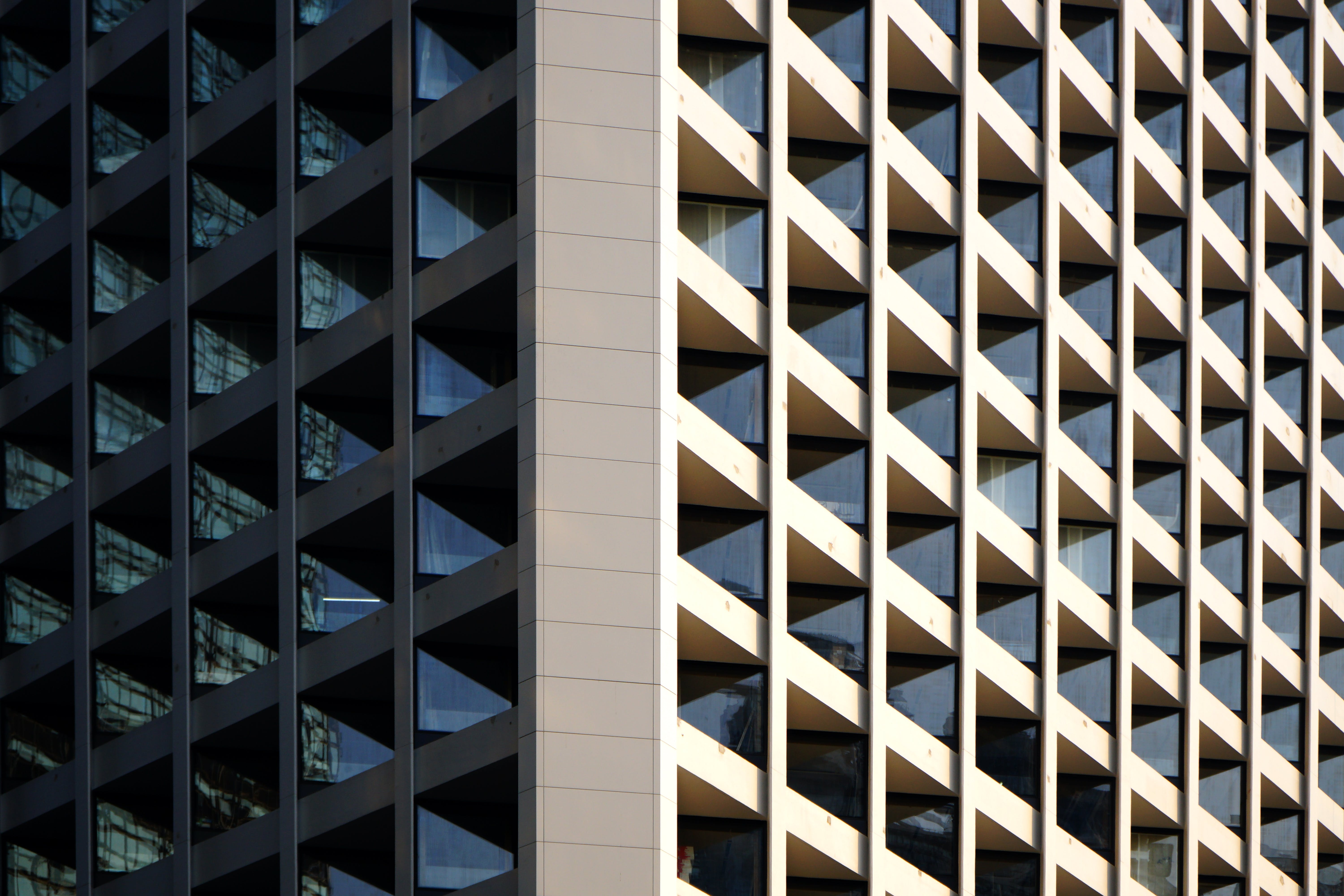 building, commercial, geometric pattern