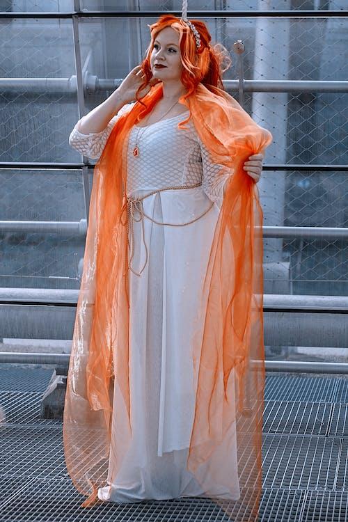 Orange and White Dress Shirt