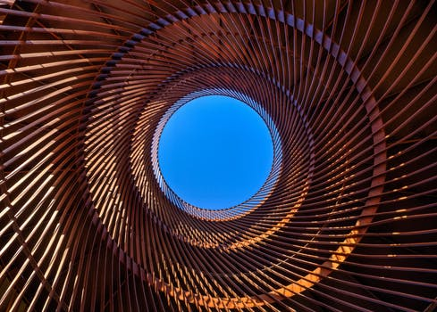 Worms Eye View Of Spiral Stained Glass Decors Through The