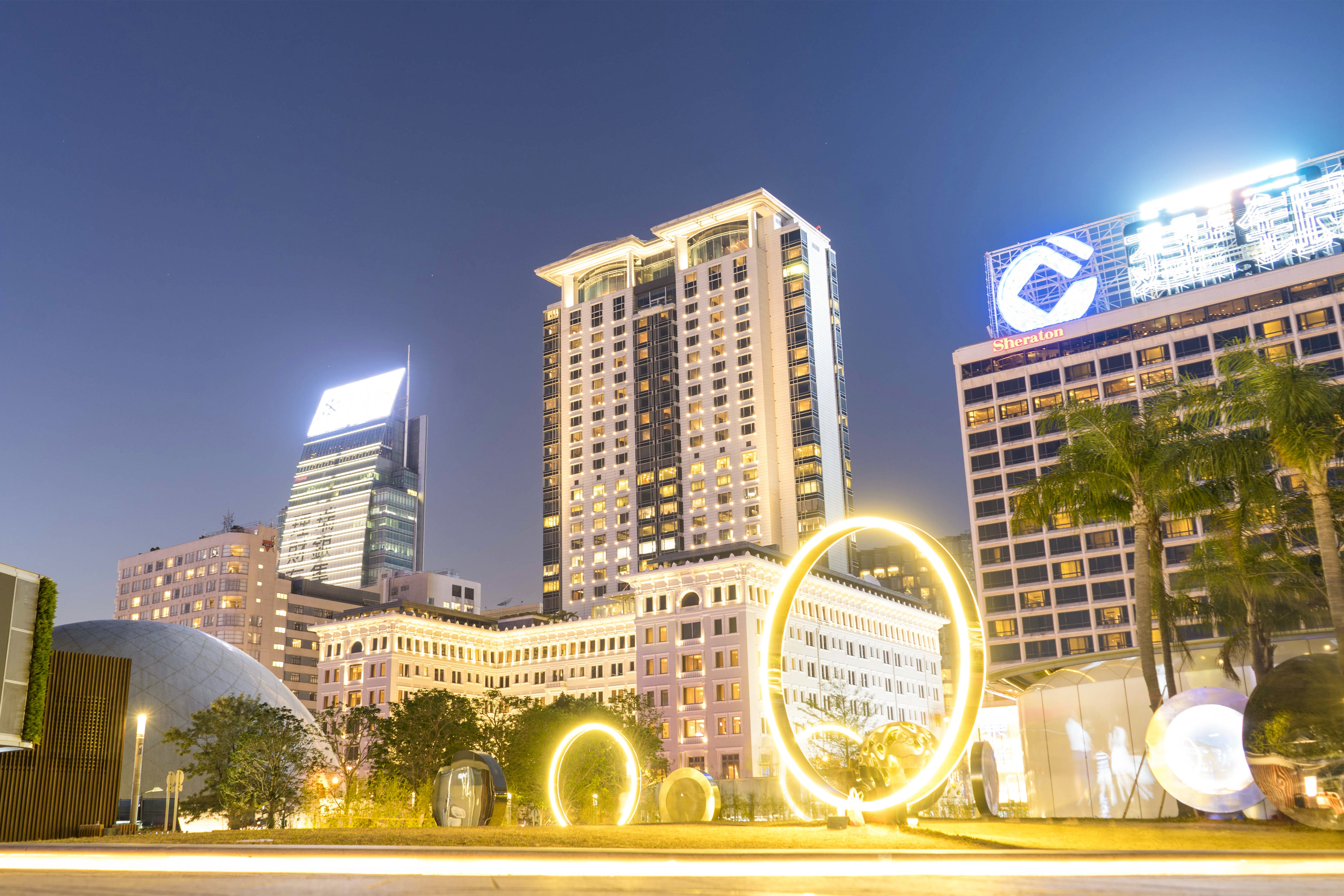 Several Lighted High-rise Buildings