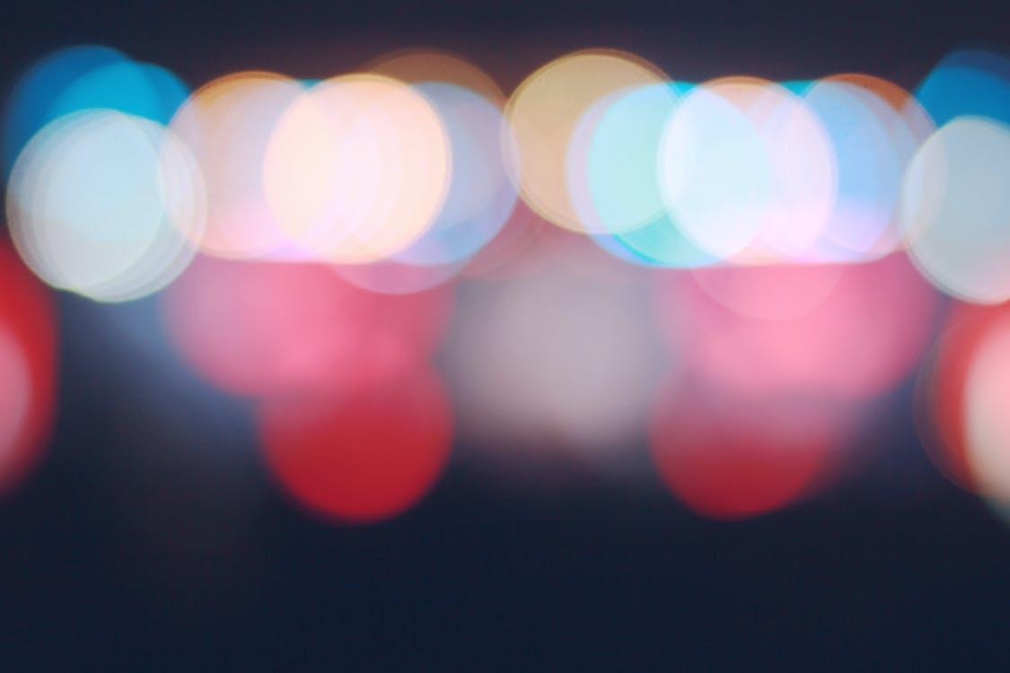 blau, desenfocament, llums de la ciutat