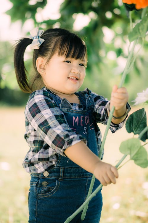 Boy in Blue and White Plaid Shirt Holding Green Leaf