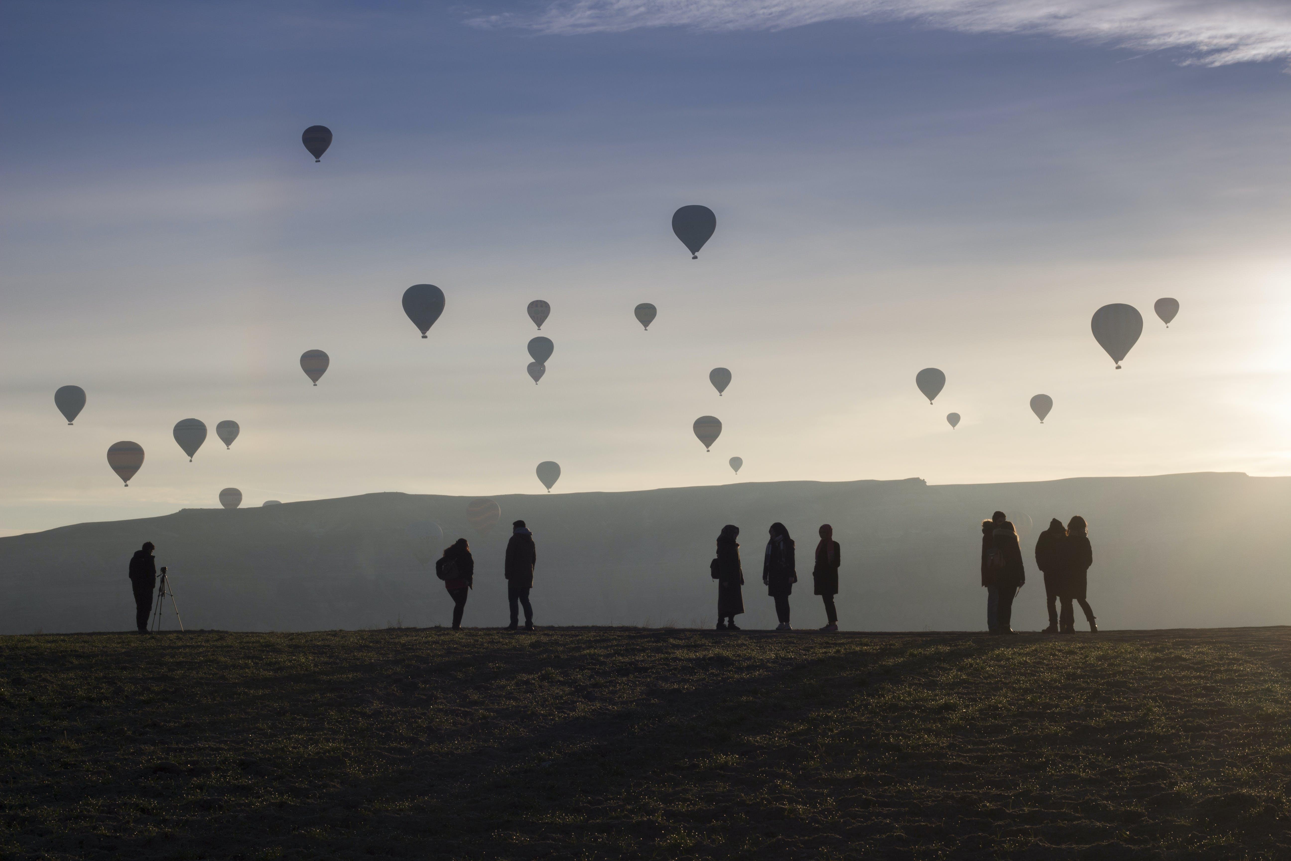 Free stock photo of cappadocia, hot air balloons, love valley, people