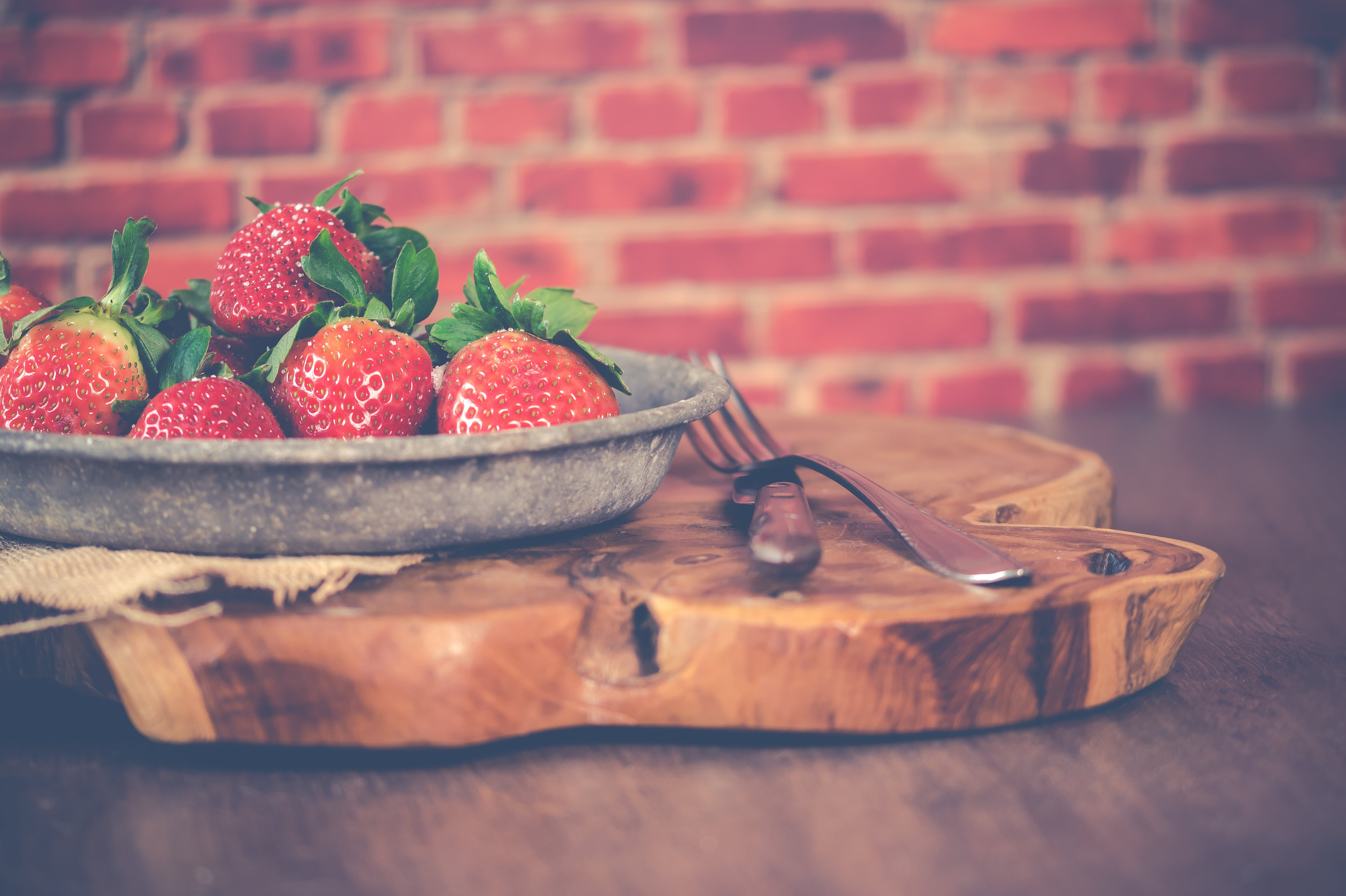 Strawberries on Gray Steel Bowl