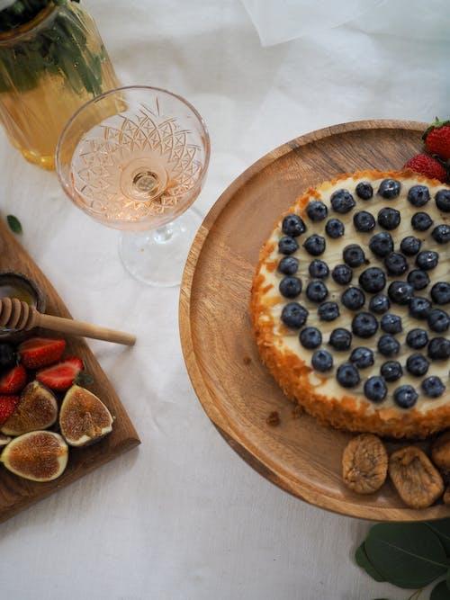 Blue Berries on Brown Ceramic Plate