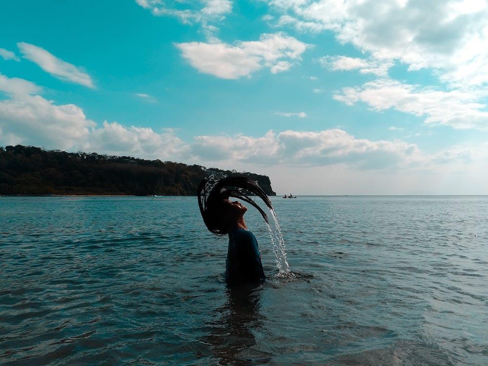 água, beira-mar, céu
