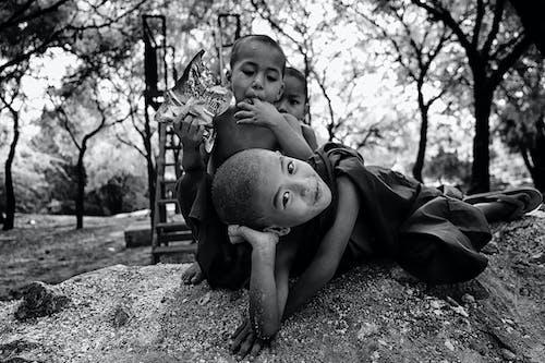 Darmowe zdjęcie z galerii z chłopcy, czarno-biały, drzewa, dzieci
