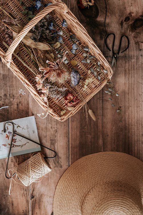Dried Flowers on a Wooden Basket