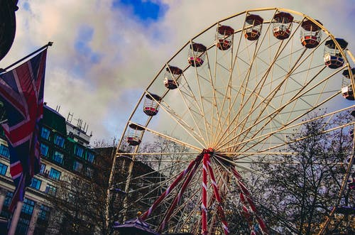Ferris Wheel Under White Clouds