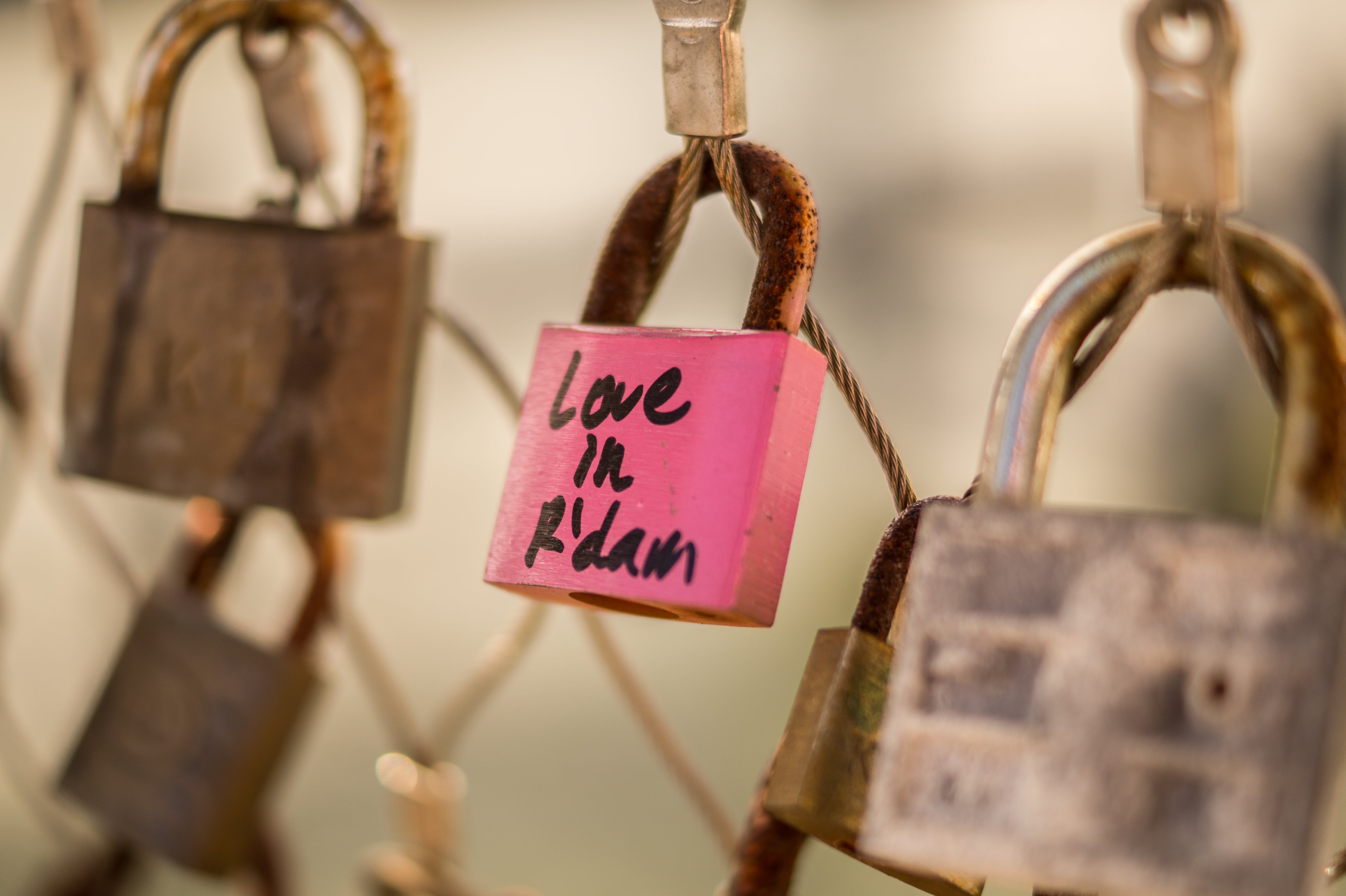 Selective Focus Photography of Pink and Gray Love in R'dan Padlock