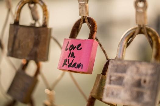 Free stock photo of love, bridge, pink, lock
