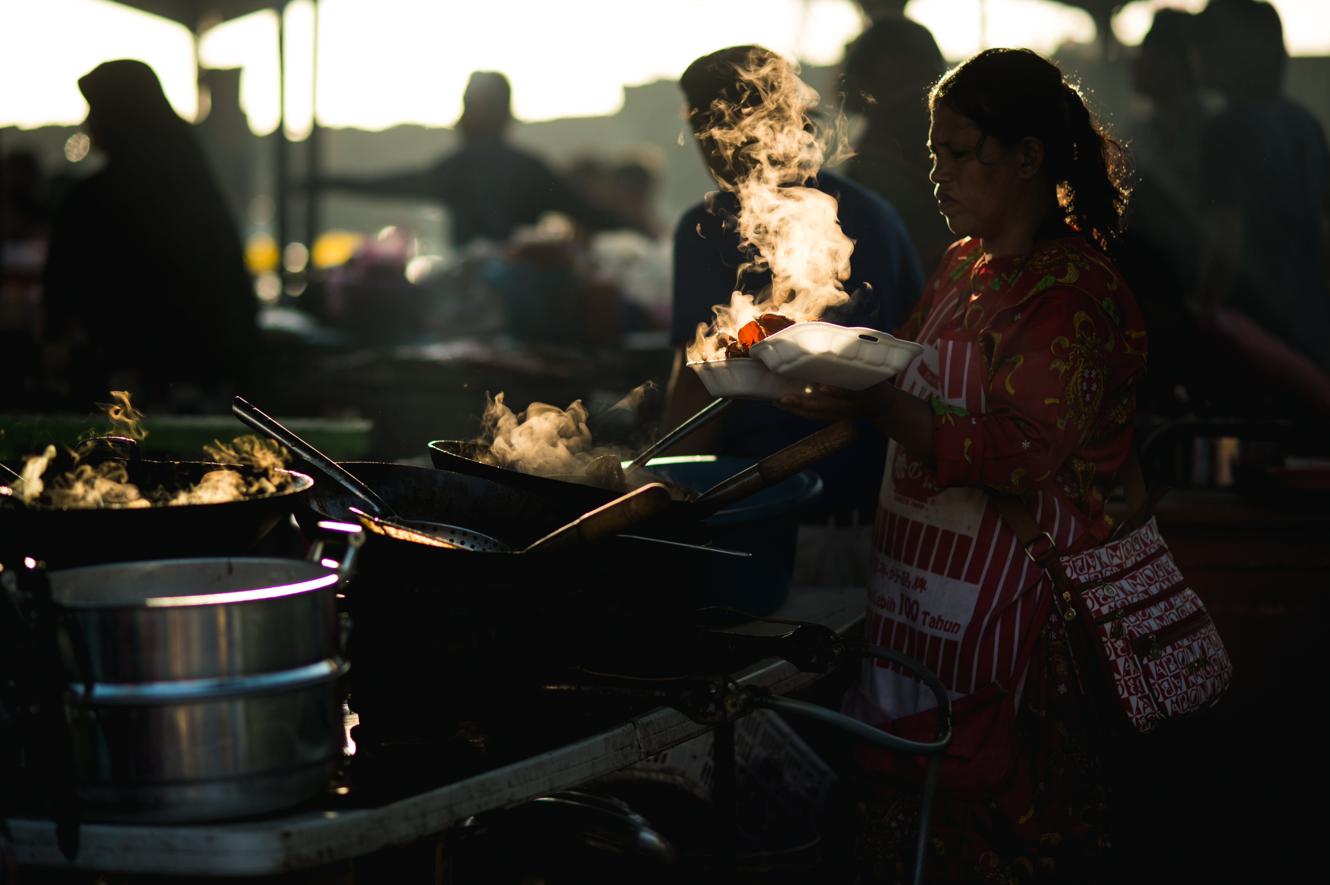 Free stock photo of food, woman, street, cooking