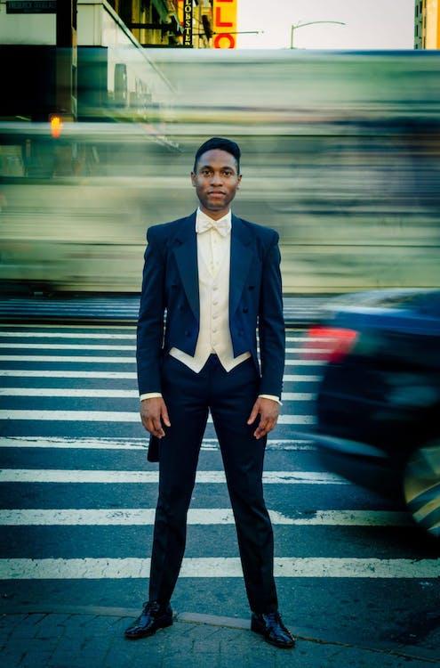Man in Black Formal Suit Jacket on the Street