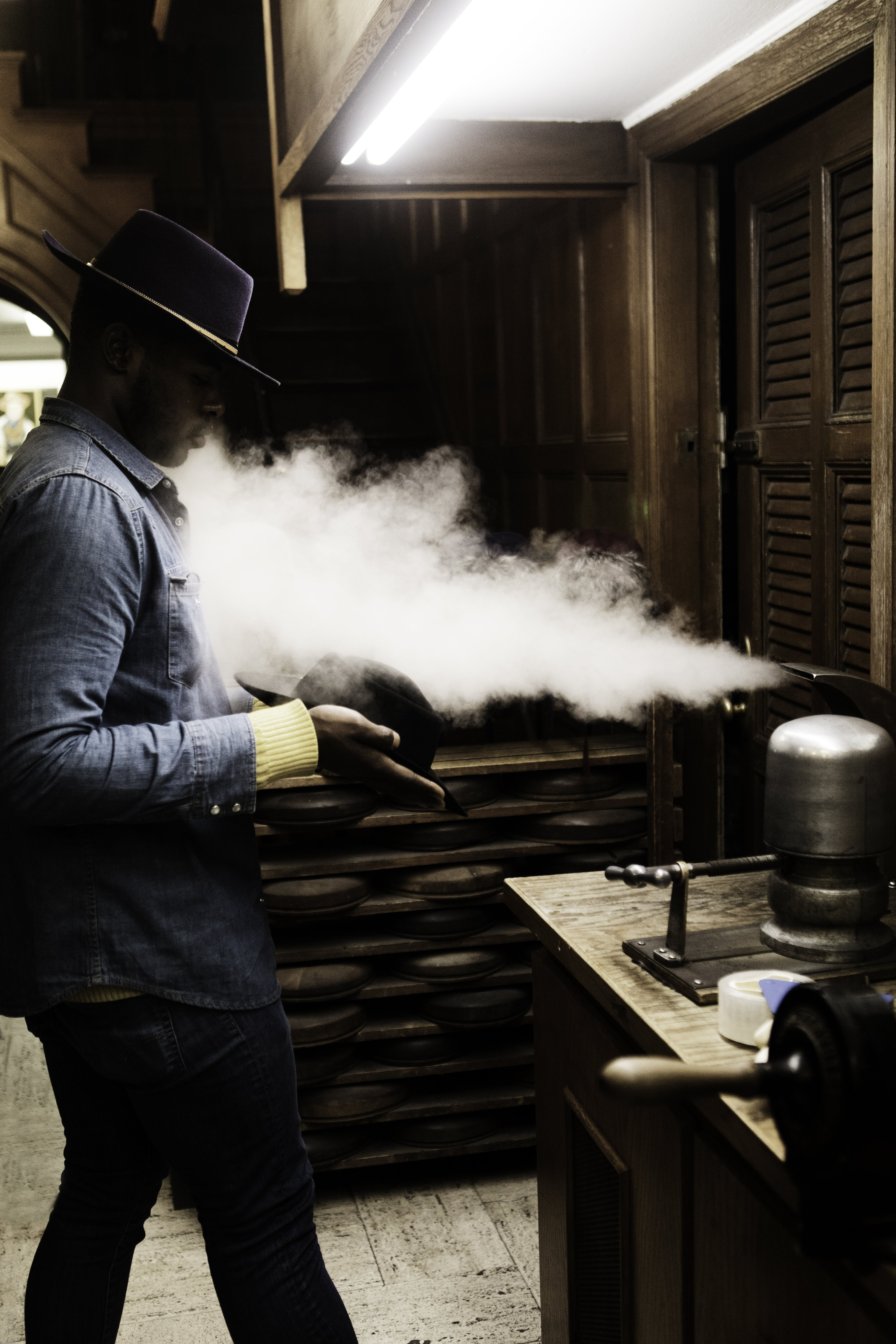 Man Standing with Steam Blowing Out