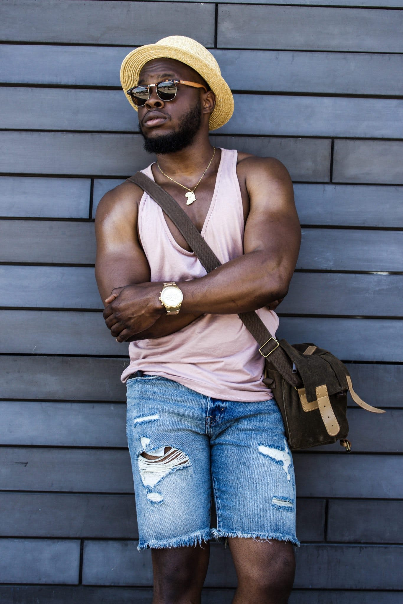 Man Wearing Pink Tank Top