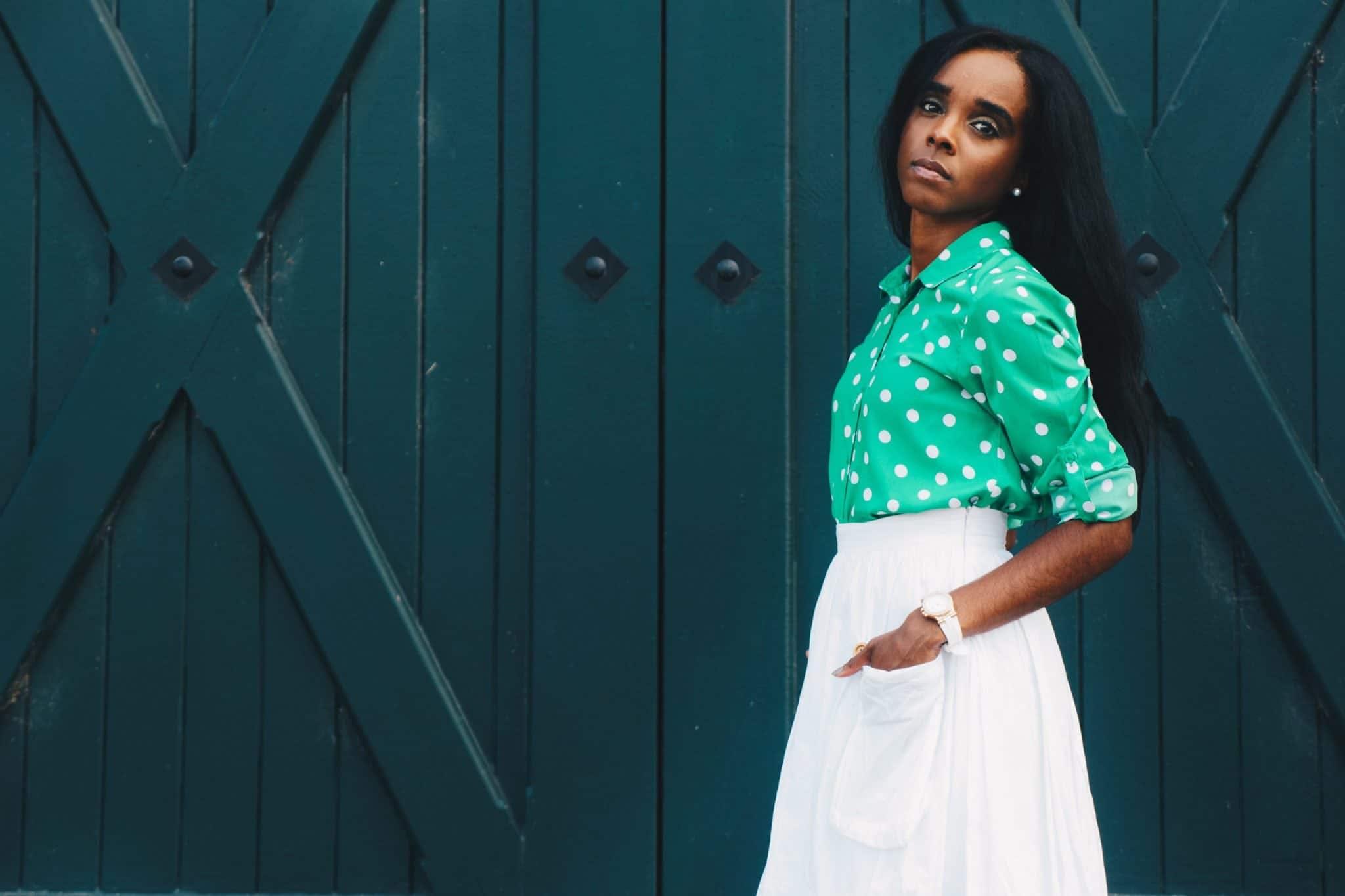 Woman Wearing Green Polka-dot Long-sleeved Dress