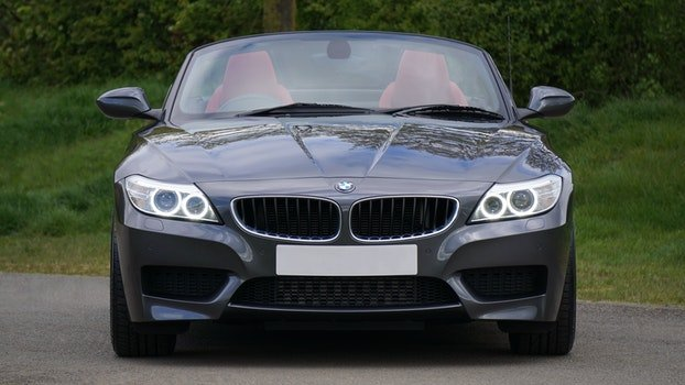 Black Bmw Convertible in Front of Green Bushes