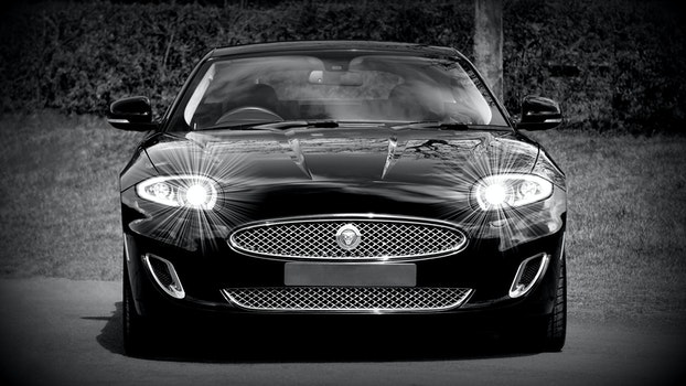 Grayscale Photo of a Black Sports Car Convertible
