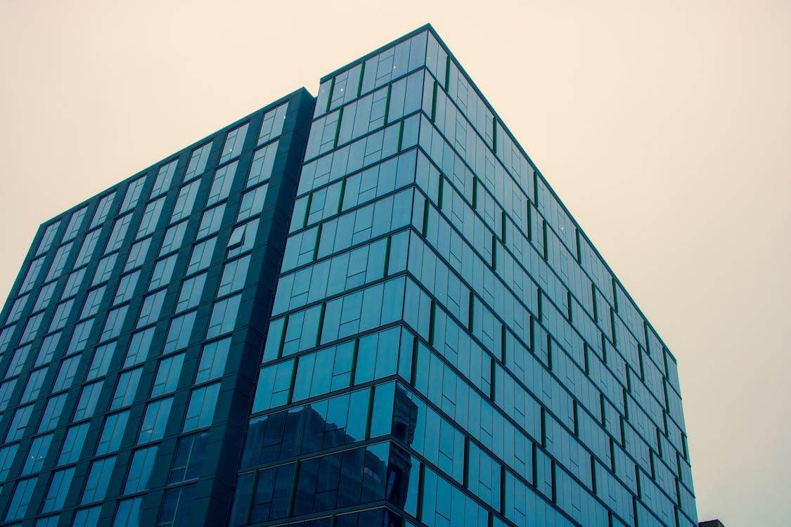 alto, arquitectura, artículos de cristal