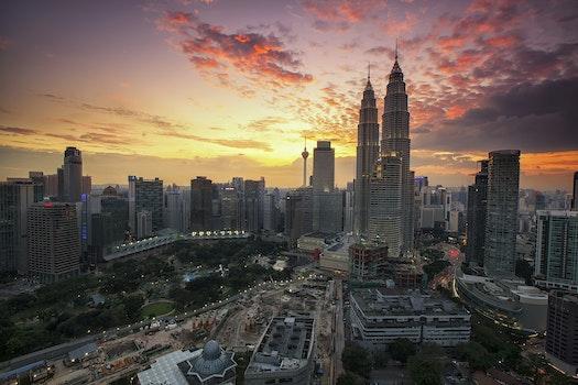 Big Infrastracture Under Sunset Sky