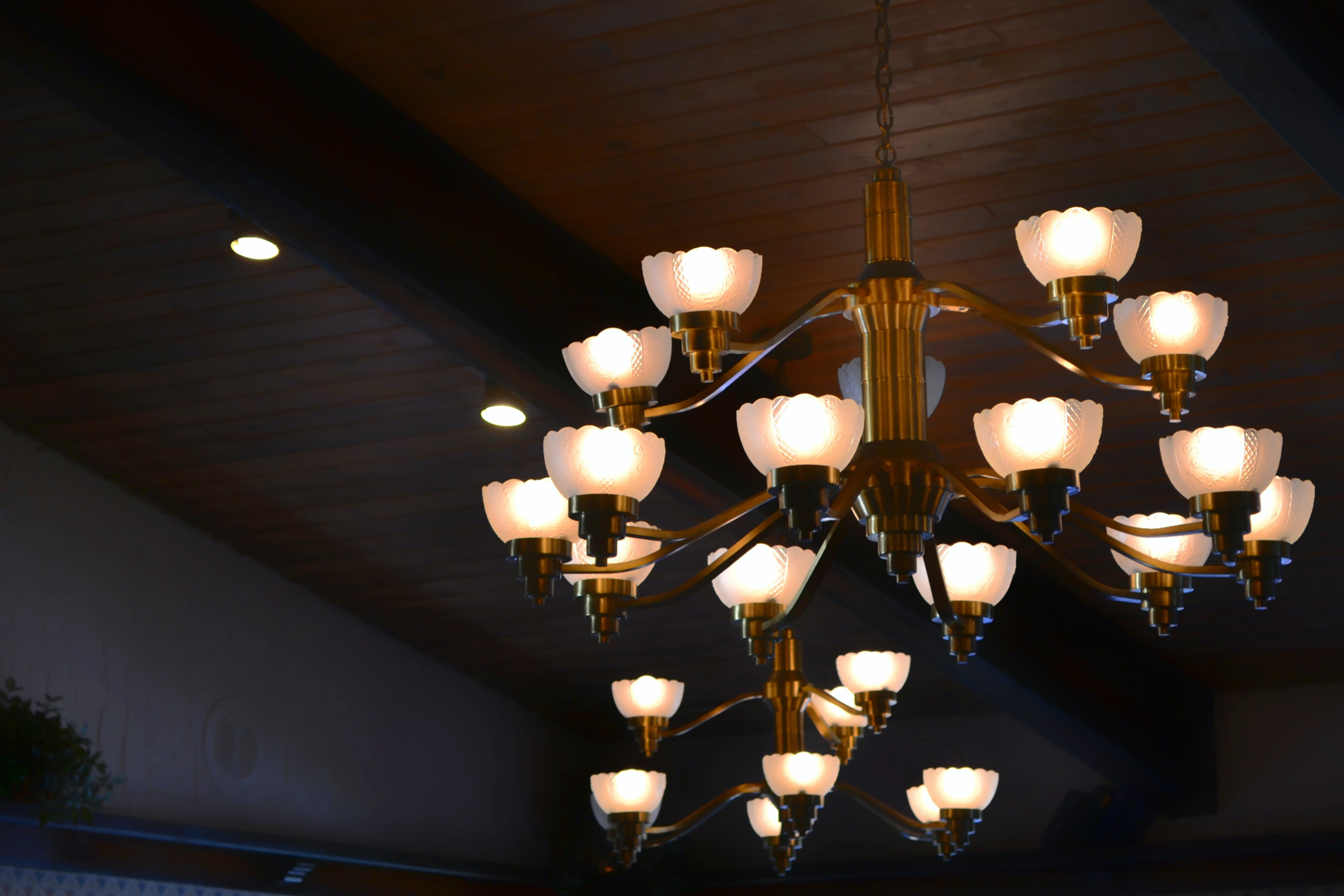 Turn on Brown Uplight Chandelier