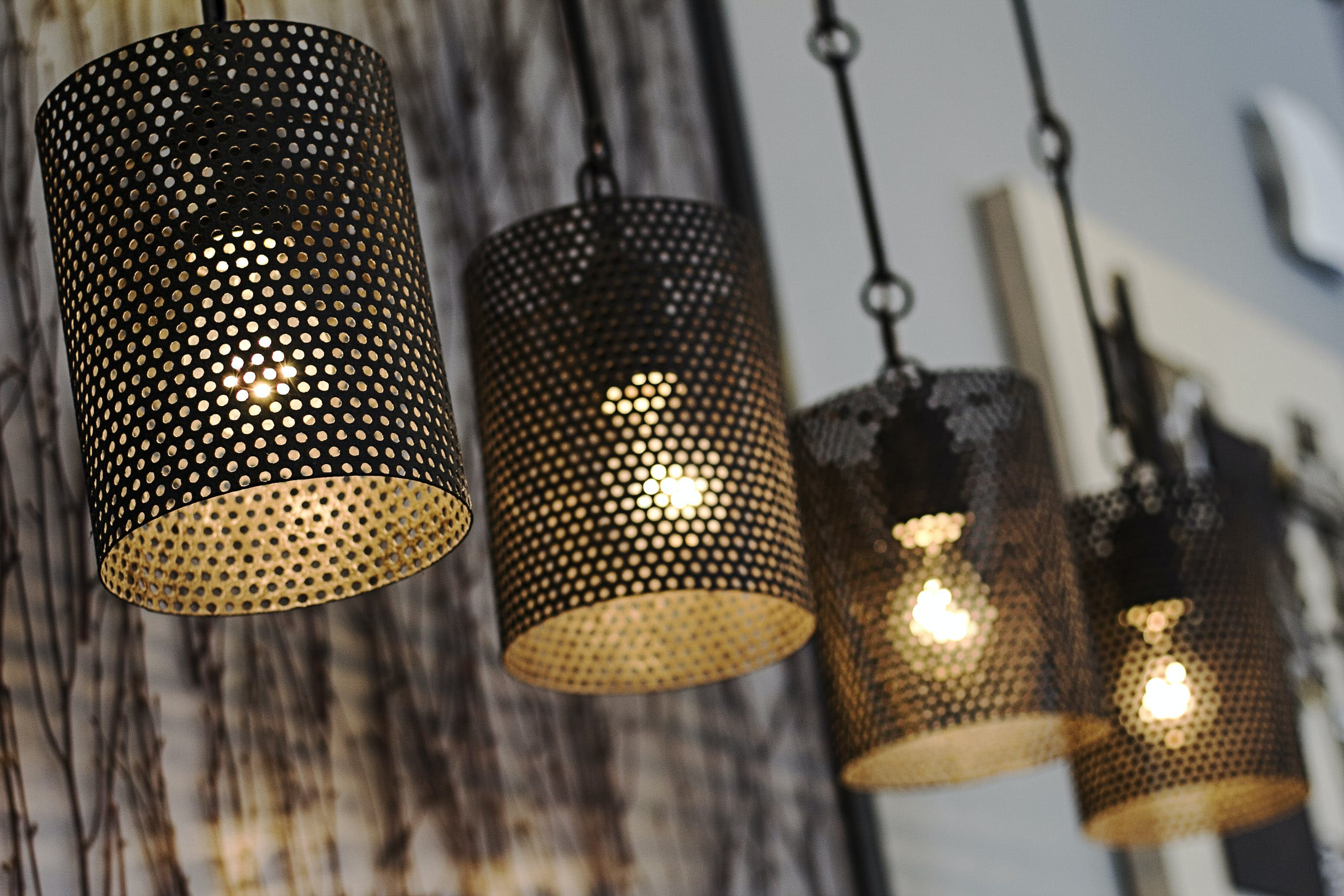 Four Black Turned on Pendant Lamps