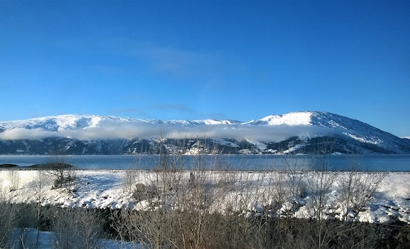 Landscape Photo of Body of Water Within Snow Coated Mountain Range