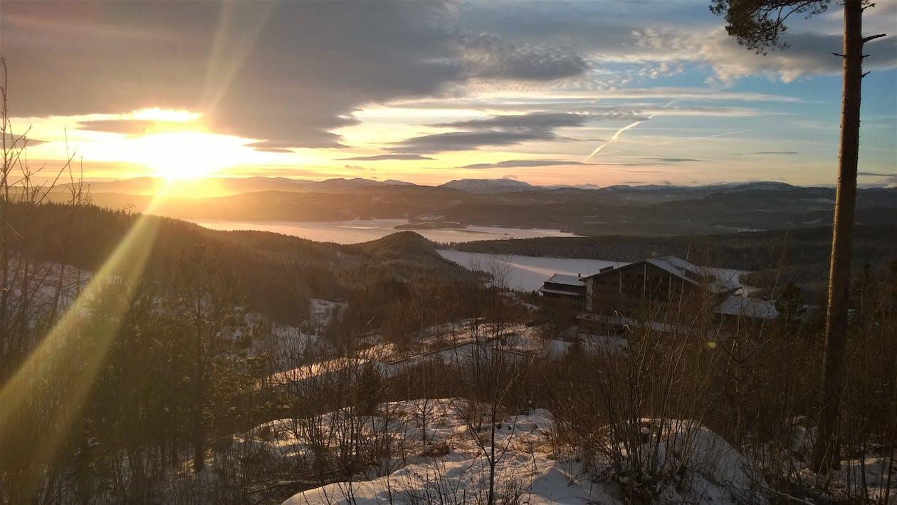 bjerge, forkølelse, gylden time