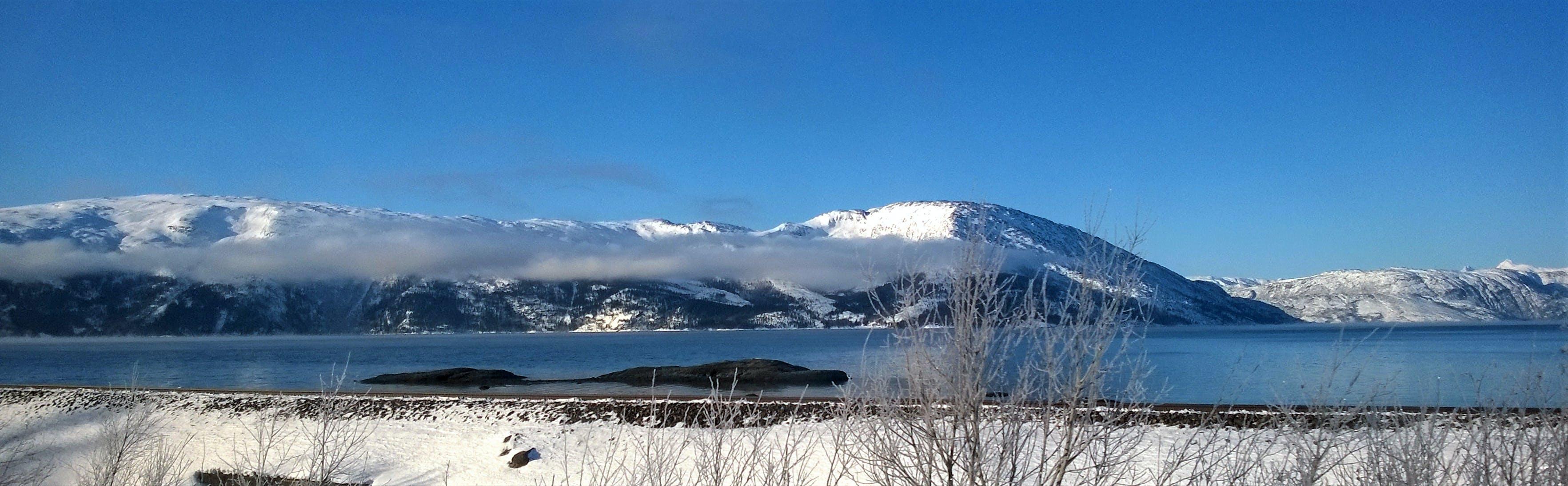 іній, блакитне небо, вершина гори