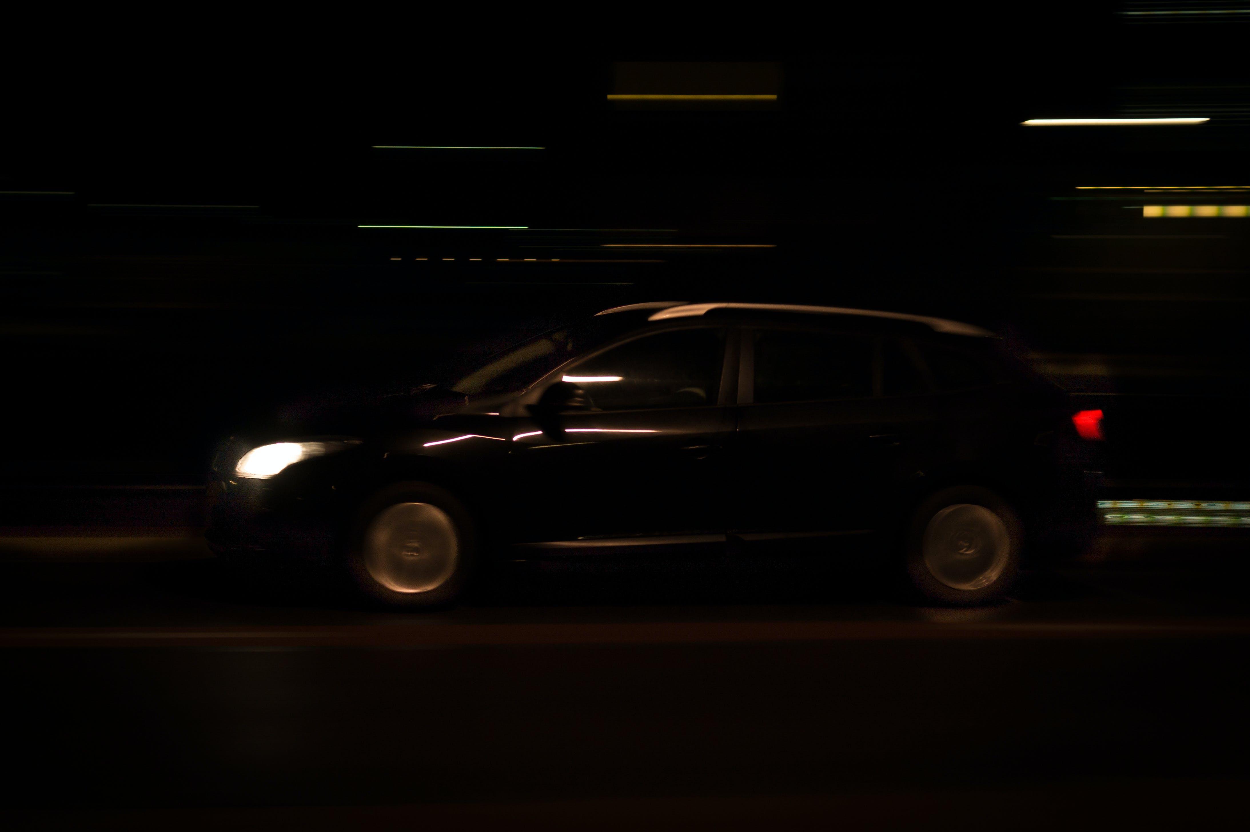 car, driving, lights