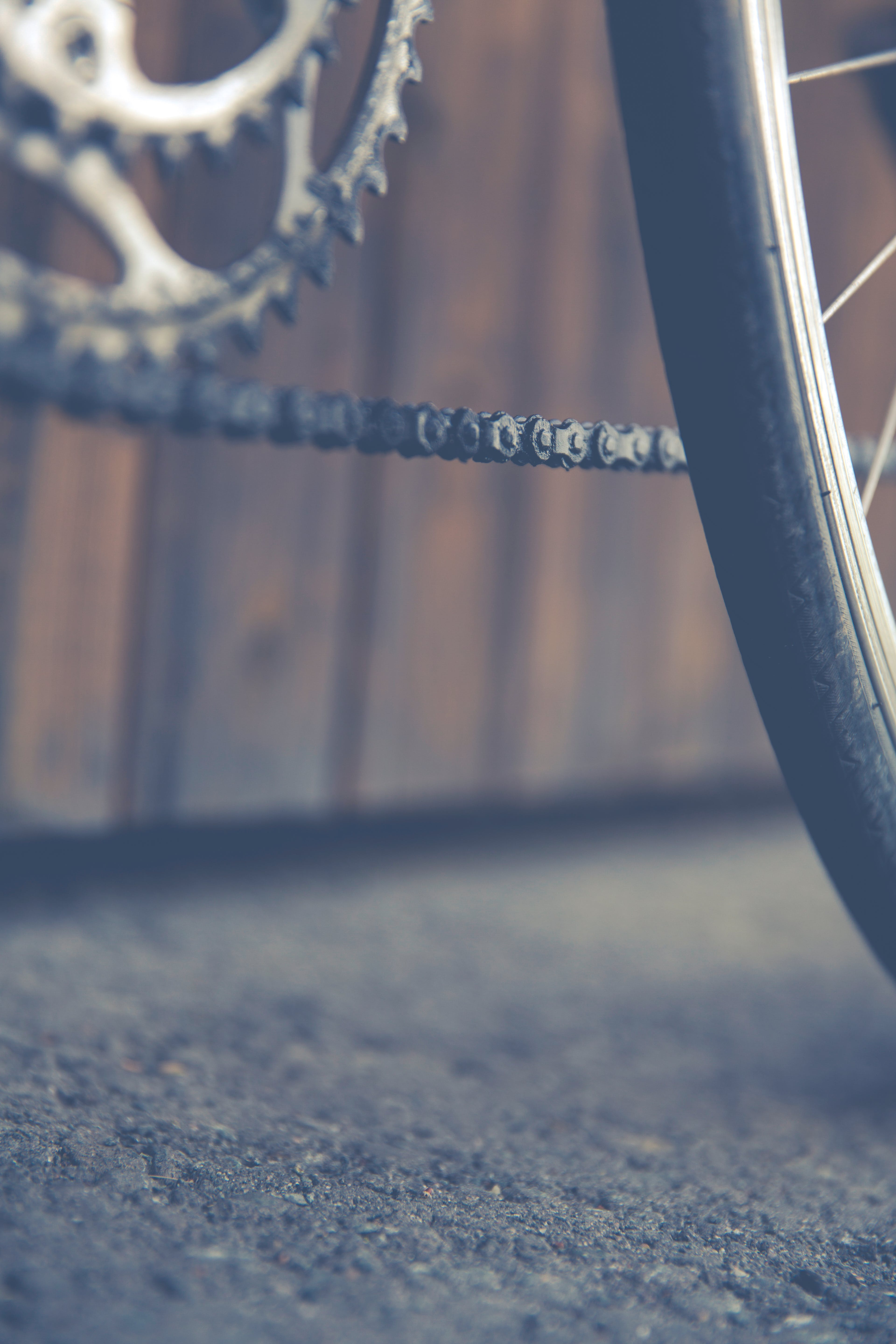 Black Bicycle Wheel and Chain