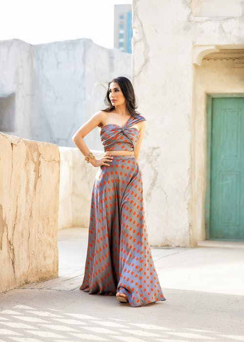 A Woman Wearing a Polka Dots Dress