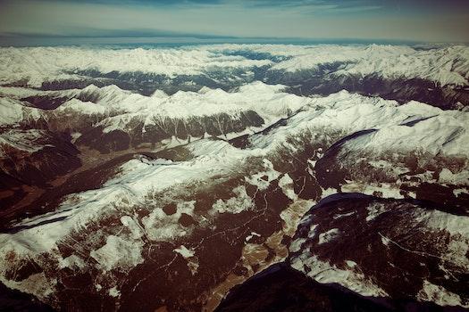 Kostenloses Stock Foto zu schnee, vogelperspektive, berge, himmel