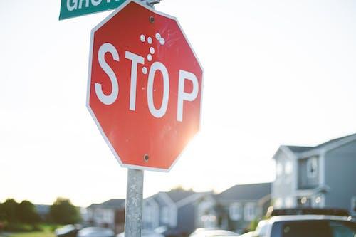 Photos gratuites de arrêter, arrière-plan flou, avertissement