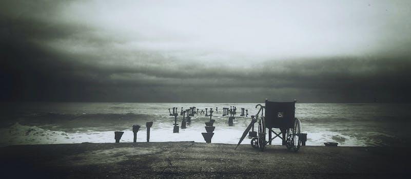 Grey Scale Photograph of Wheel Chair Near Water Sea
