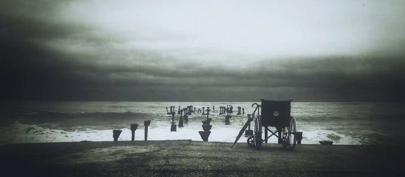 Grey Scale Photograph of Wheel Chair Near Water Sea