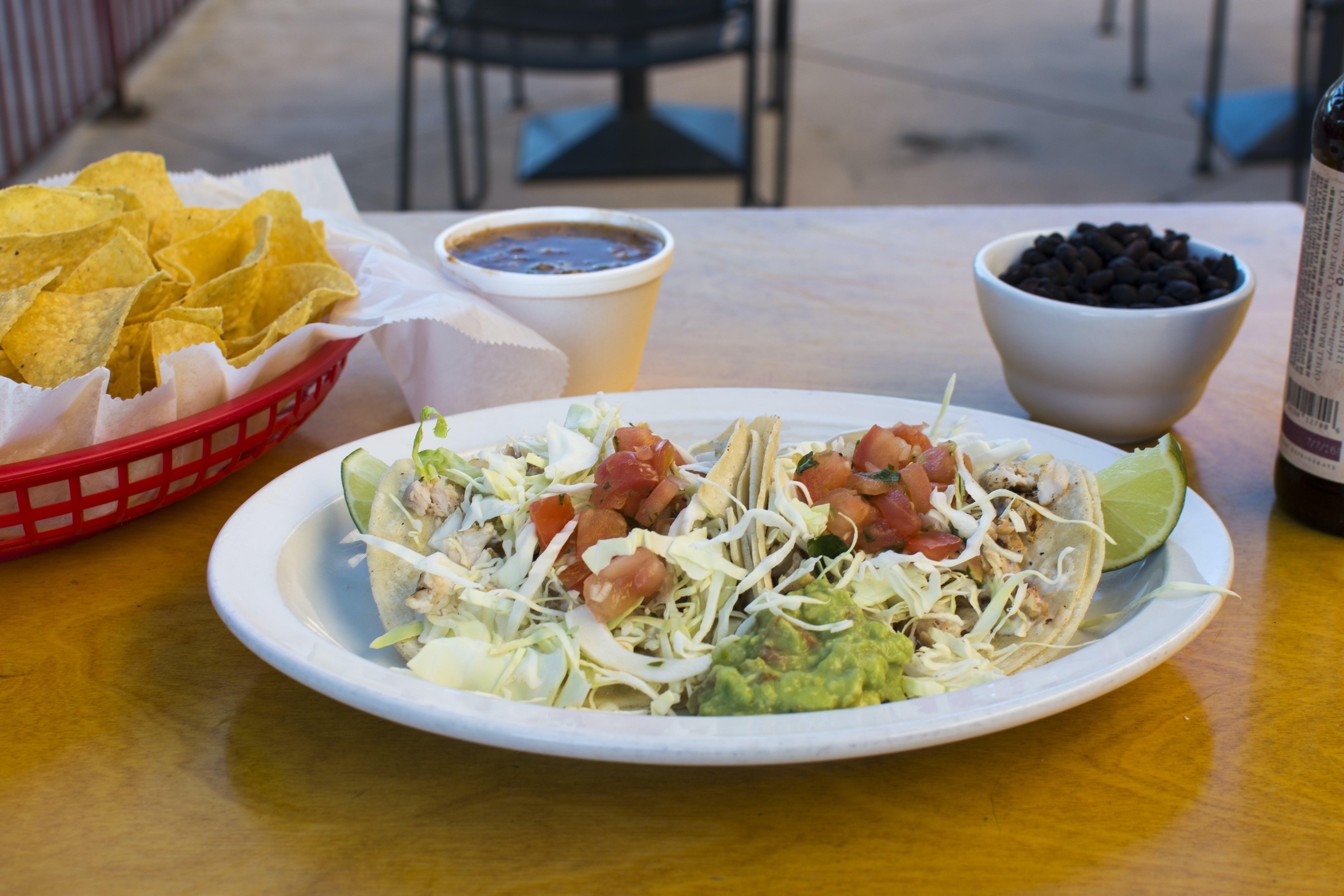 Free stock photo of chips, dip, Fish Tacos, taco