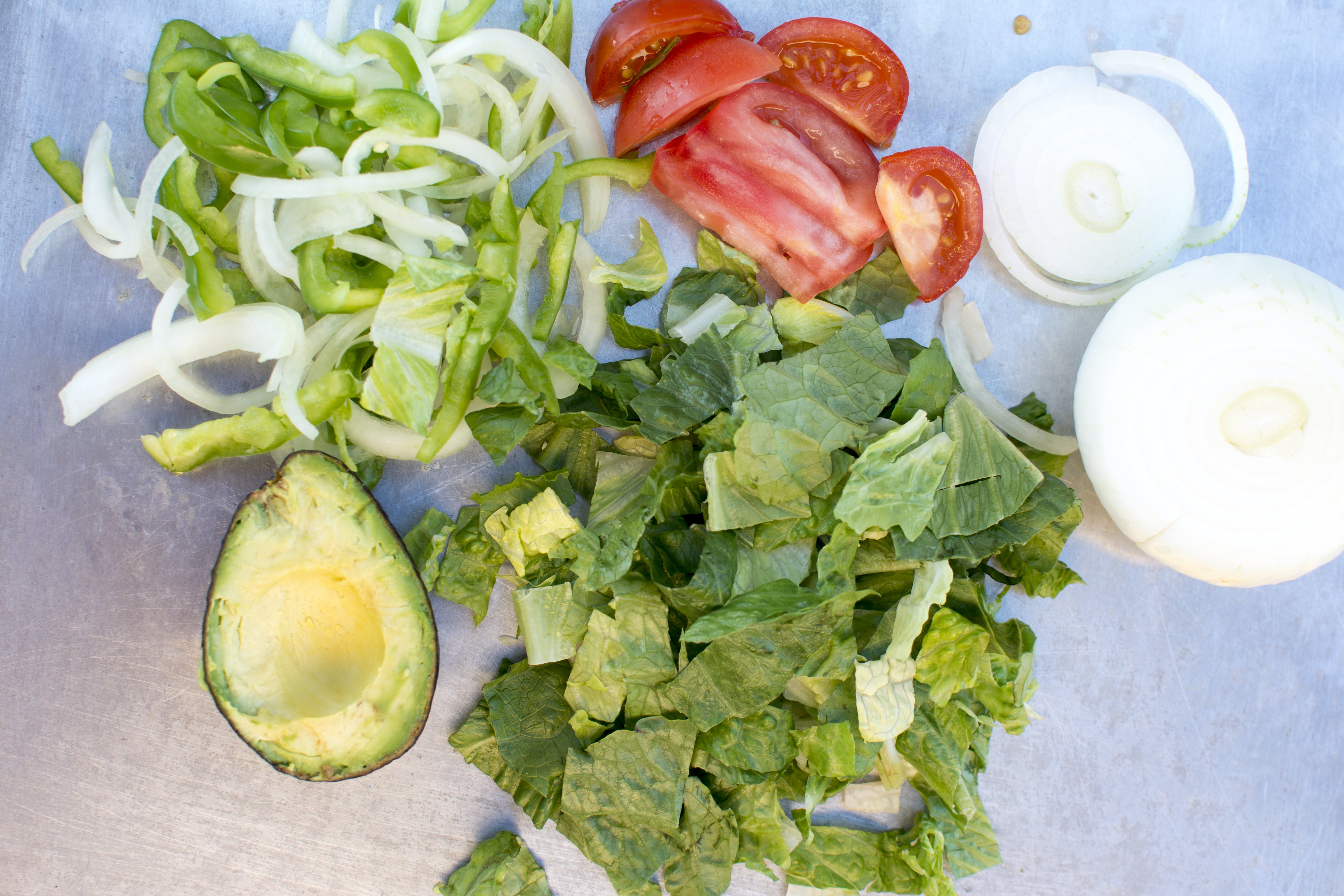 Free stock photo of avocado, lettuce, onions, peppers