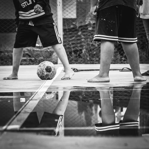Grayscale Photo of Soccer Ball