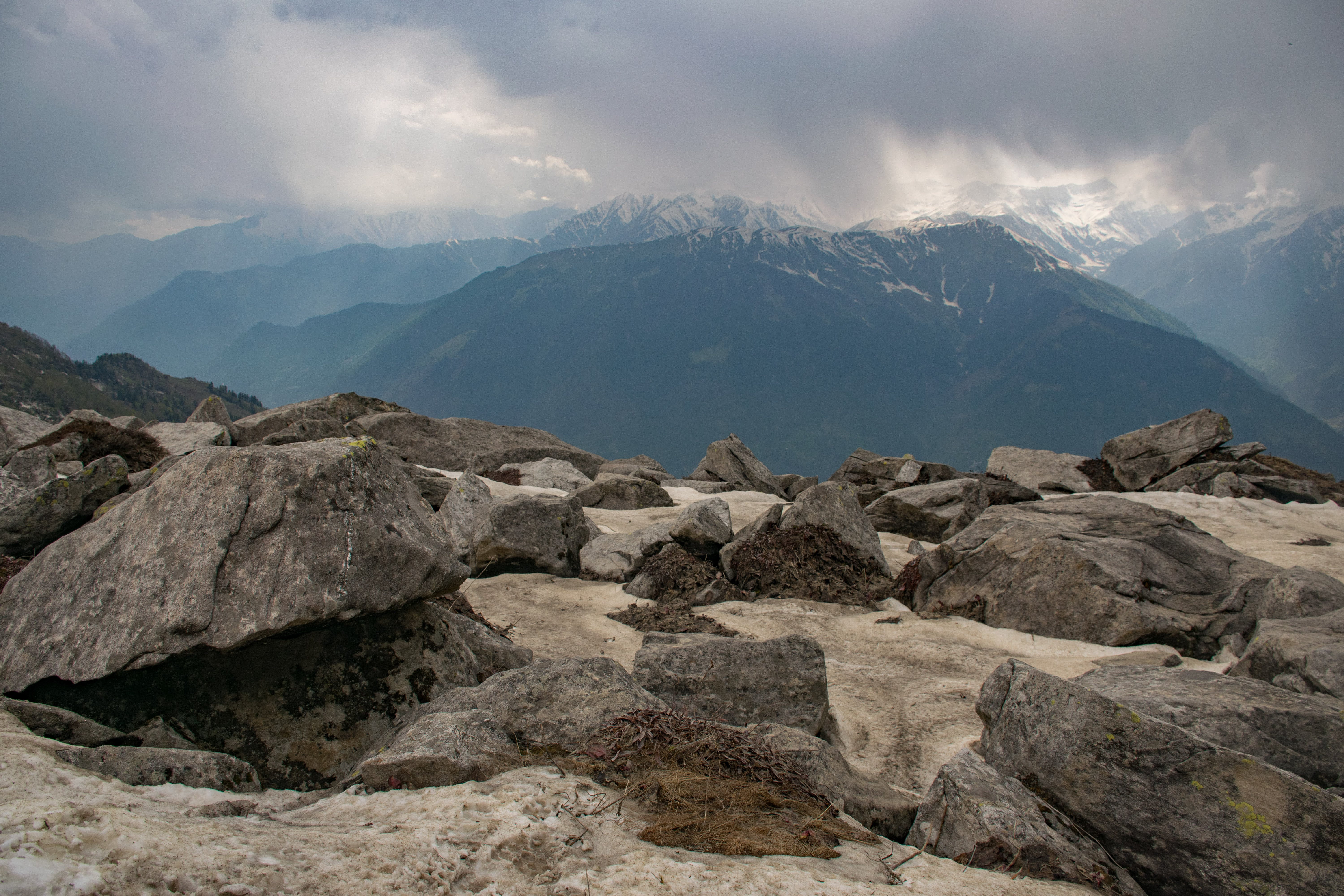 Gray Rocks in Front of Mountain