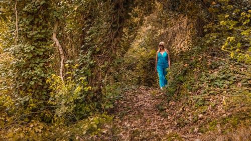 Woman Wearing Blue Jumpsuit Walking in Forest