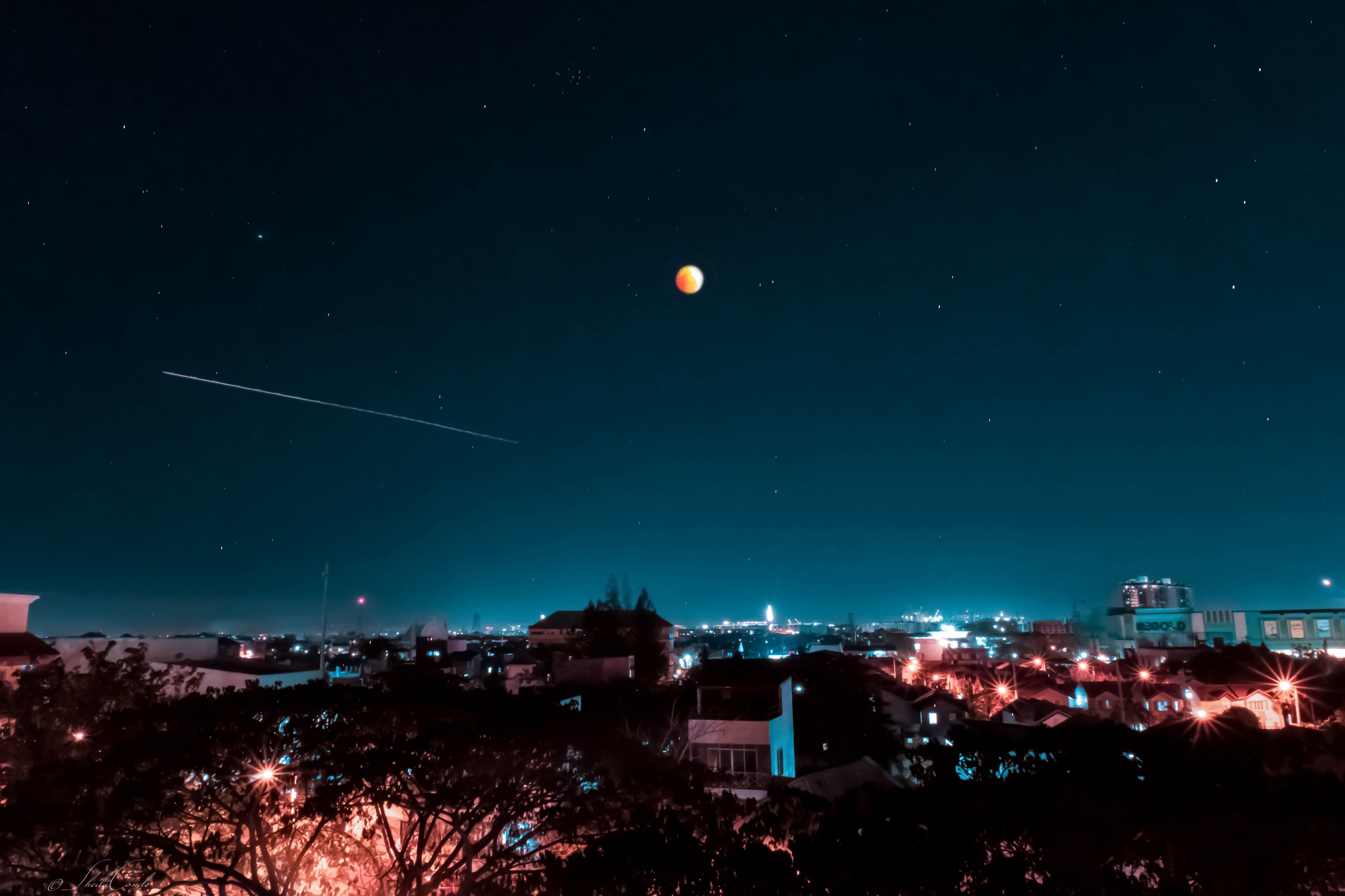 Free stock photo of astrophotography, blue, city lights, full moon